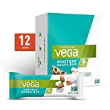 Vega Protein Snack Bar, Coconut Almond - Vegan Protein Bars, Plant Based, Vegetarian, Dairy Free, Gluten Free, Soy Free, Non GMO (12 Count)