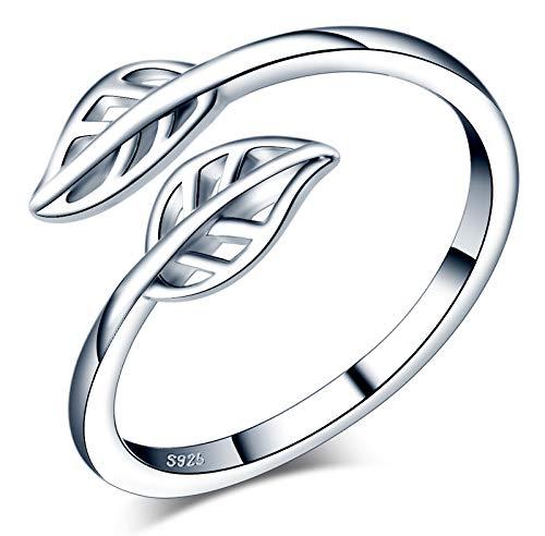 CPSLOVE Anillo de mujer niña, anillo de plata de ley 925, Anillos de follaje elegante, anillo abierto, tamaño ajustable, anillo de bodas, Circunferencia de dedo adecuada:48,5-57mm