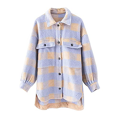 IIYUO Sobrecamisas de moda para mujer, chaqueta a cuadros de gran tamaño, abrigo Vintage con bolsillo...
