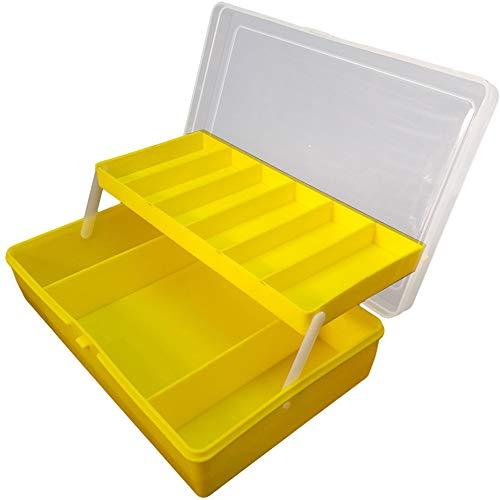 Caja de Aparejos Nuevas Capas Dobles Señuelos de Pesca Gancho de Línea Aparejos de Pesca Caja de Herramientas Caja de Almacenamiento de Cebo Plegable de Plástico Transparente (Yellow-L)