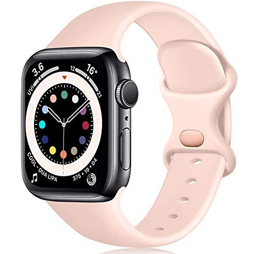 Epova Compatible con Correa Apple Watch 38mm 40mm 41mm, Mujer Hombre Silicona Pulsera para iWatch SE Series 7 6 5 4 3 2 1, Rosa Arena, Pequeño