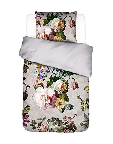 ESSENZA Bettwäsche Fleur Blumen Pfingstrosen Tulpen Baumwollsatin Grau, 135X200 + 1X 80X80 cm, Grey, 142
