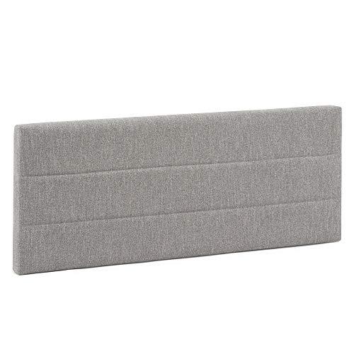 Cabecero tapizado Miconos 140x60 cm Color Gris, para Cama 135, Acolchado con Espuma, Bordado Horizontal, 8 cm de Grosor, Incluye herrajes para Colgar