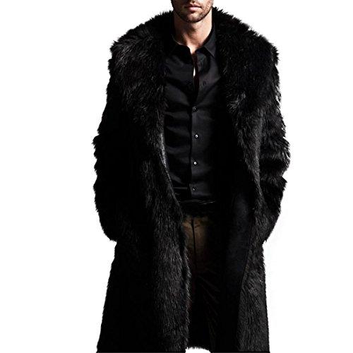 Mens Warm Jacket Plus Thickening Long Coat Fake Fur Outwear Cardigan-Todaies Mens Warm Parka (XL, Black)