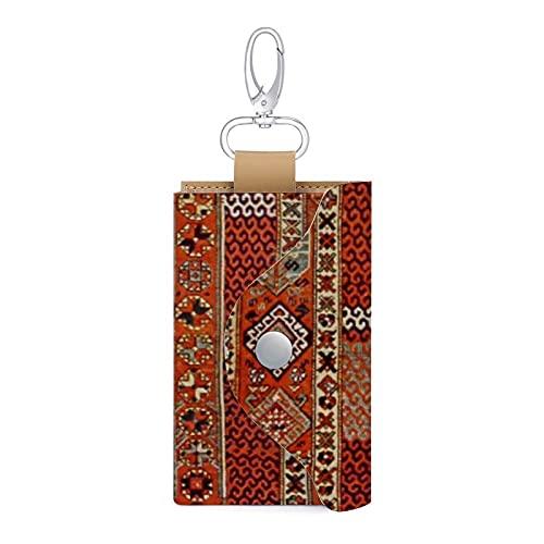 Étui en cuir avec motif tapis oriental orange pour clés, cartes, argent, portefeuille, 6 clés