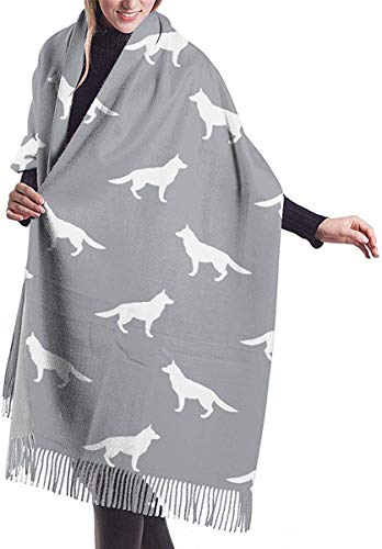 Irener Wickeldecke Schal, Women's Scarf German Shepherd Classic Tassel Plaid Scarf Autumn And Winter Warm Scarf