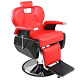 Cozysky Barber Chair,Classic Hydraulic Recline Hair Salon Iron Leather Sponge Large Barber Chair for Hair Stylist Women Man Red