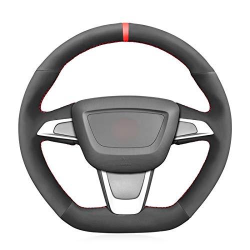 CarWorld Funda de Volante Cosida a Mano Funda para Volante de Coche de Ante Negro, para Seat Ibiza (