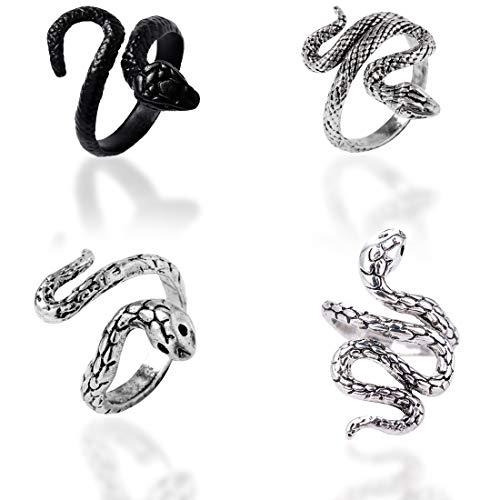 Anillo de serpiente de moda para mujer anillo de serpiente 4PCS anillo de joyería vintage En Forma De Abierto Ajustable Hombre Metales Pesados Plateados Plata del Punk Rock