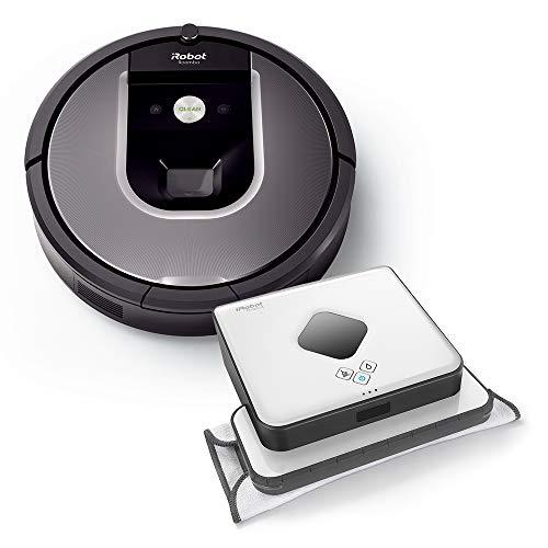 iRobot R960 + B390T Alta Potencia de Limpieza en Todos los Suelos, óptimo para pelos de Animales y Grandes Espacios, Antracita y Plateado