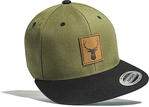 Outdoor Cap: Hirsch - Flexfit Snapback mit Leder Patch - Bouldern Sport Wandern Camping Natur Jäger Jagd Basecap Geschenk Männer Mann Frau-en - Baseball-Cap Mütze Kappe (Green-Black)