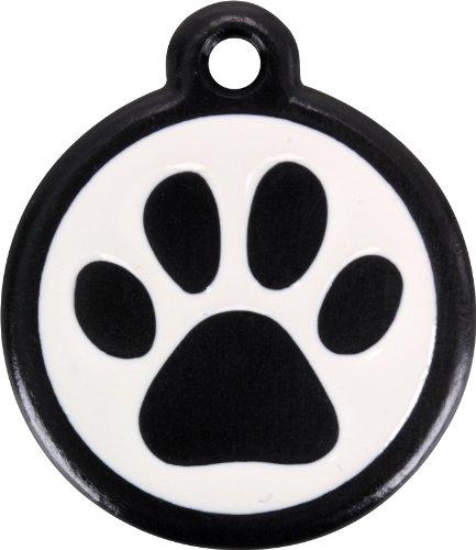 Red Dingo QR Black Pet Tag, Pawprint, Large