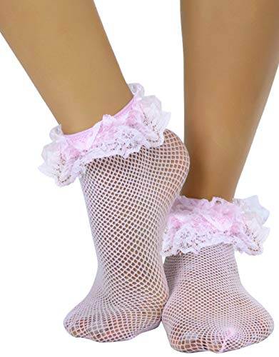 ToBeInStyle Women's Retro Inspired Fishnet Anklet Socks w/Ruffle Lace Trim - Baby Pink