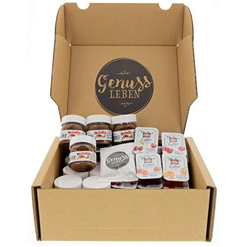 Genussleben Box mit Genussleben Jelly Beans, 10x Nutella à 25g und 30x Schwartau Konfitüre verschiedene Sorten in Portionspackungen