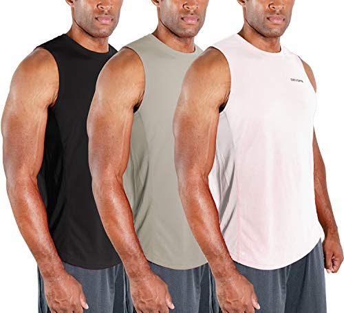 DEVOPS Men's 3 Pack Cool Dry Fit Muscle Sleeveless Gym Training Performance Workout Tank Top (Medium, Black/Gray/White)