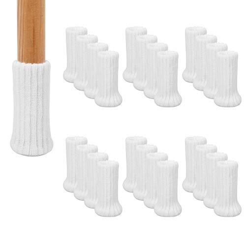 AIRUJIA Calcetines de pierna para silla, 32 piezas de punto elástico para muebles, protectores de suelo para silla, doble grosor, para patas cuadradas redondas con diámetro de 2,5 a 5 cm, blanco