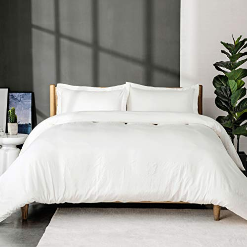 Bedsure White Washed Duvet Cover Set Full/Queen Size with Zipper Closure,Ultra Soft Hypoallergenic Comforter Cover Sets 3 Pieces (1 Duvet Cover + 2 Pillow Shams), 90X90 inches