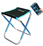 Camping Stool, Aoutacc 10.6 Inch Portable Folding Stool for Outdoor Travel Walking Hiking Fishing Garden Golf Beach, Foldable Camping Seat with Carry Bag (Blue - 8.9'x9.8'x10.6')