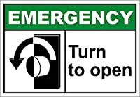 Turn to Open Left Emergency ティンサイン ポスター ン サイン プレート ブリキ看板 ホーム バーために