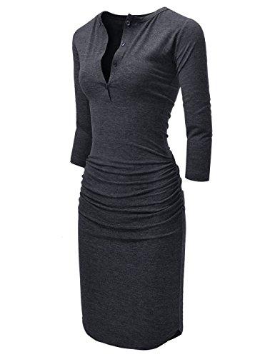 NEARKIN vestido tipo túnica casual con mangas 3/4 y cuello de henley para mujer - Gris - XX-Small