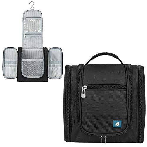 PAVILIA Hanging Travel Toiletry Bag Women Men | Bathroom Toiletry Organizer Kit for Cosmetics Makeup | Dopp Kit Hygiene Bag for Shaving Shower (Black)