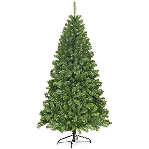 COSTWAY 6FT Christmas Tree, Hinged Spruce Artificial Xmas Tree with 928 Branch Tips, PVC Needles and Foldable Metal Stand, for Indoor Outdoor Decoration