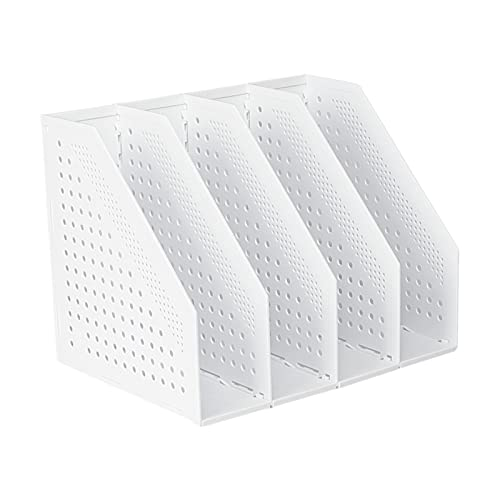 Portariviste formato A4, a 3 scomparti, 4 scomparti, per ufficio, per file e scrivania, in plastica, pieghevole, per giornali e quaderni