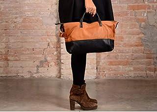 Borsa in pelle marrone e nera, borsa in pelle media, borsa in pelle, borsa fatta a mano, tracolla, borsa