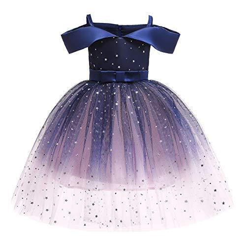 Abito Bambina da Principessa Vestito Elegante Senza Maniche con Paillettes Pizzo Fiocco Abito per Festa Cerimonia Compleanno 2-10 Anni