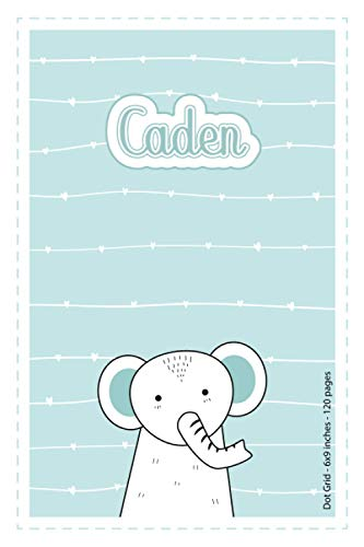 Caden: Personalized Name Dot Grid Paper Notebook Light Blue Elephant   6x9 inches   120 pages: Notebook for drawing, writing notes, journaling, ... writing, school notes, and capturing ideas