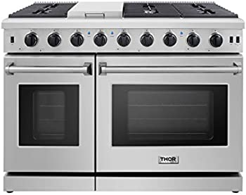 Thor Kitchen Pro-Style 48 inch Gas Range with 6 Burners and Double Ovens