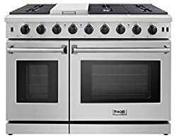 commercial Thor Kitchen Pro-Style LRG4801U 48-inch gas stove with 6 burners and double oven, stainless steel … double oven stove