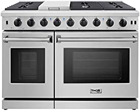 Thor Kitchen LRG4807U Pro-Style Gas Range with 6 Burners and Double Ovens, 48 inch, Stainless Steel