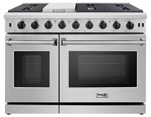 Thor Kitchen Pro-Style 48 inch Gas Range with 6 Burners and Double Ovens, Stainless Steel, LRG4807U