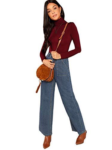 DIDK Damen Rollkragenpullover Slim Fit T-Shirt Langarmshirt Oberteile Shirts Tunika Langarm Schmal Pulli Casual Pullover Tee Bordeaux#3 M