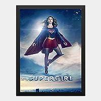 ハンギングペインティング - スーパーガール Super Girl メリッサブノワ 6のポスター 黒フォトフレーム、ファッション絵画、壁飾り、家族壁画装飾 サイズ:33x24cm(額縁を送る)