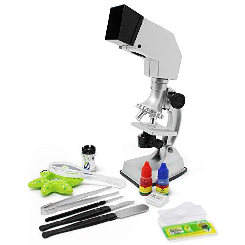 Kids Science Microscope Kit Set Learning Educational STEM Toys Education Lab Slides Discovery Experiments 100X-900X Magnifying Micro Scope Scientist Equipment Science Technology Engineering Math Toy