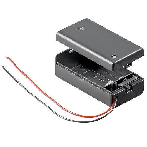 Portapilas para 1 Pila 6LR61 9V con Tapa Negro, Cablepelado®