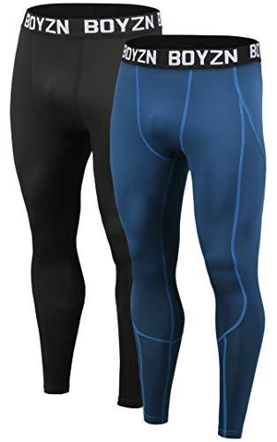 Boyzn Men's 2 Pack Compression Baselayer Pants Cool Dry Gym Leggings Baselayer Sports Tights Black/Blue-XL