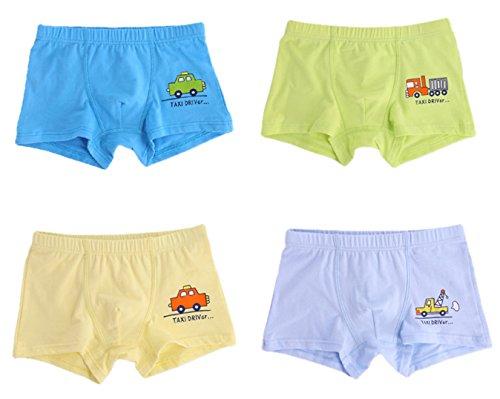 Sivice - 4 Pcs de Calzoncillos Estampado Coche Divertido para Niños Bóxer de Algodón Suave Transpirable Ropa Interior Slips Underwear for Boys - 2-9 Años