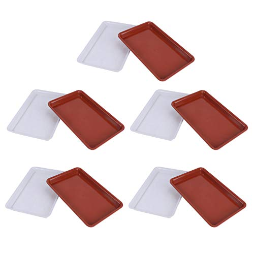 Hemoton 10pcs Flower Pot Tray Rectangular Plastic Flower Pot Drip Trays Potted Support Plant Saucer Leakproof Potted Flowerpot Base Tray (Red+White)