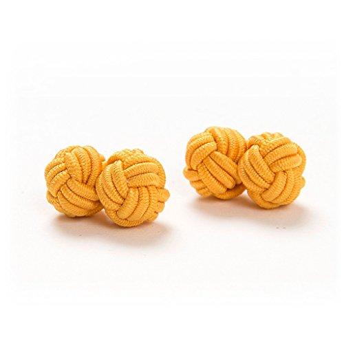 1 Paar Manschettenknöpfe Seidenknoten Knoten Knötchen gold einfarbig hochwertig Stoffknoten Cufflinks Gentleman Umschlagmanschette Manschette dehnbar London Style