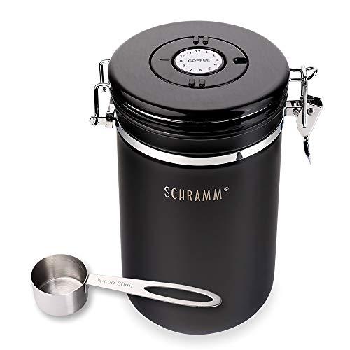 Schramm® Kaffeedose 1800 ml in 10 Farben mit Dosierlöffel Höhe: 18cm Kaffeedosen Kaffeebehälter aus Edelstahl, Farbe:schwarz