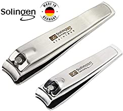 Solingen Nail Clippers | 2 Pcs Professional Sharp Tools Set | Stainless Steel Metal Made in Germany | Kit for Manicure & Pedicure ToeNail FingerNail Care For Women Mens and Baby