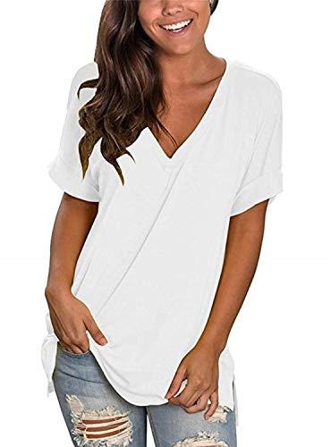 UMIPUBO T-Shirt Estivi Donna Casual,Manica Corta con a V,Maglietta Top Elegante Moda Stretch Taglie Forti,Magliette Vacanza Classico Tinta Unita (WH,XL)