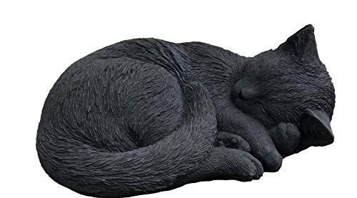 Steinfigur Schwarze Katze schlafend, eingerollt, frostfest bis -30°C, massiver Steinguss