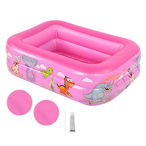 Growcolor Pool Großer quadratischer Pool Badewanne Kinder Aufblasbarer Pool Hochwertiges Kinderheim Us(Rosa)
