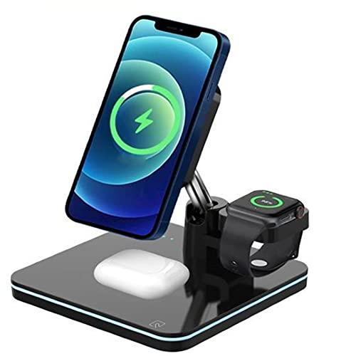 Estación De Carga Inalámbrica, Base De Carga 3 En 1 Compatible con iPhone 12 12 Mini 12 Pro 12 Pro MAX, Compatible con Apple Watch 6, Compatible con Airpod Pro 2
