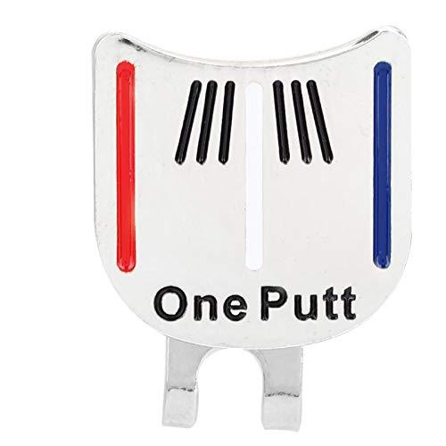 DAUERHAFT Marcador de Pelota de Golf One Putt Imán Superficie de sujeción Pulido Galvanoplastia Hecho de Metal, (Silver Color Bar)