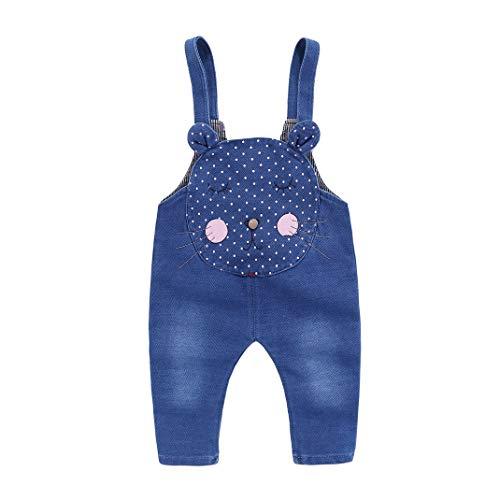 AOOPOO Trägerhose Jeans Kleinkind Baby Mädchen Latzhose Overalls Hose Jeans Katze Muster